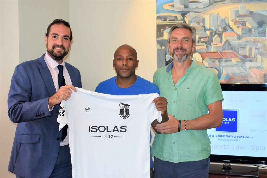 L to R: Stuart Dalmedo, Senior Associate at ISOLAS, Julian Joachim, Player/Ambassador for Europa Point F.C., and Andy Pritchard, consultant at Europa Point F.C.