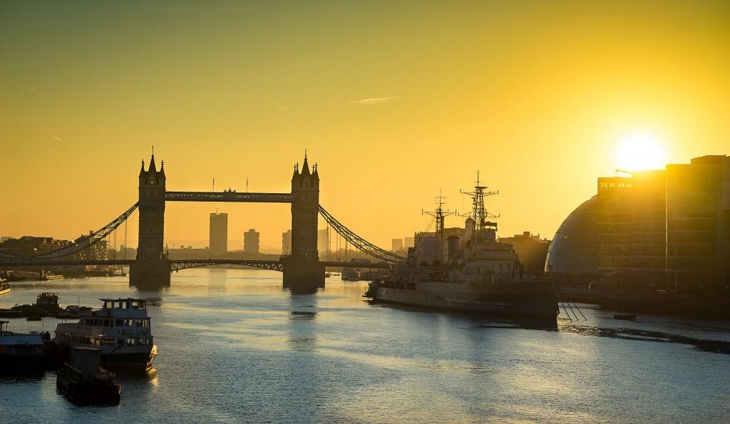Abstract picture of Tower bridge landmark at sunrise, London, United Kingdom